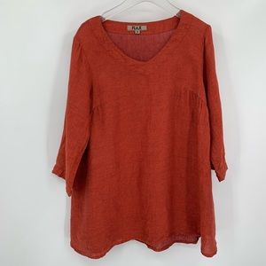 Flax orange woven tunic top linen blouse burnt S